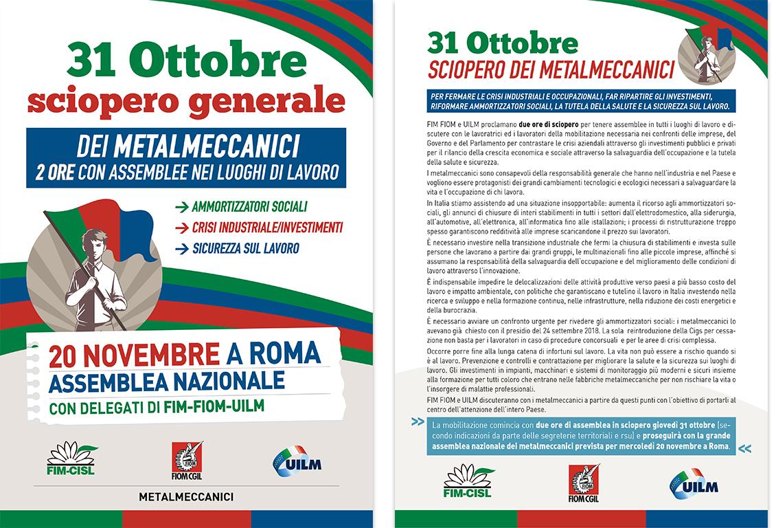Volantino Sciopero Metalmeccanici 30 ottobre 2019