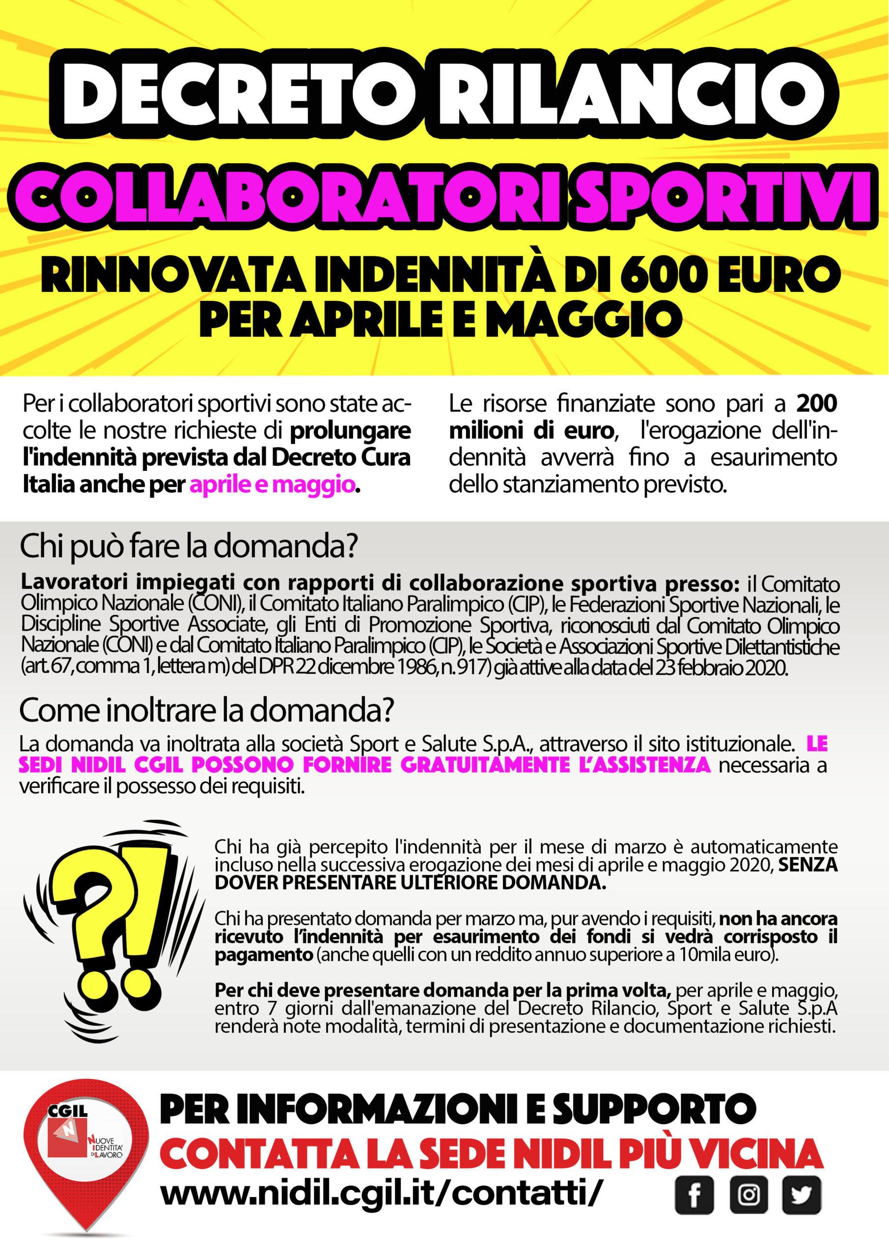 Decreto Rilancio Collaboratori sportivi