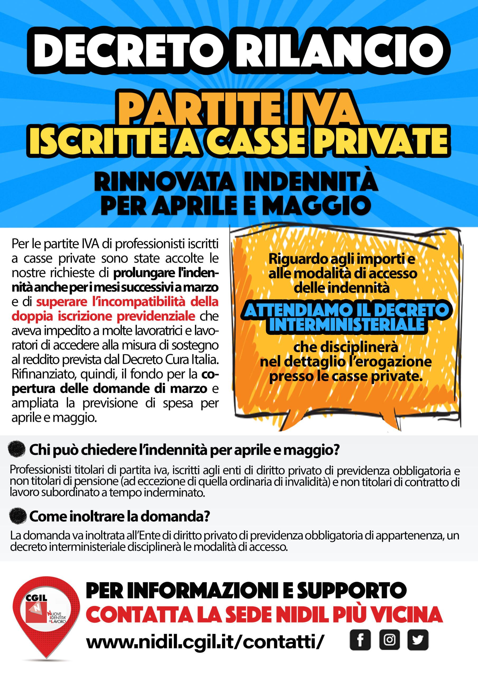 Decreto Rilancio Partite IVA Casse private