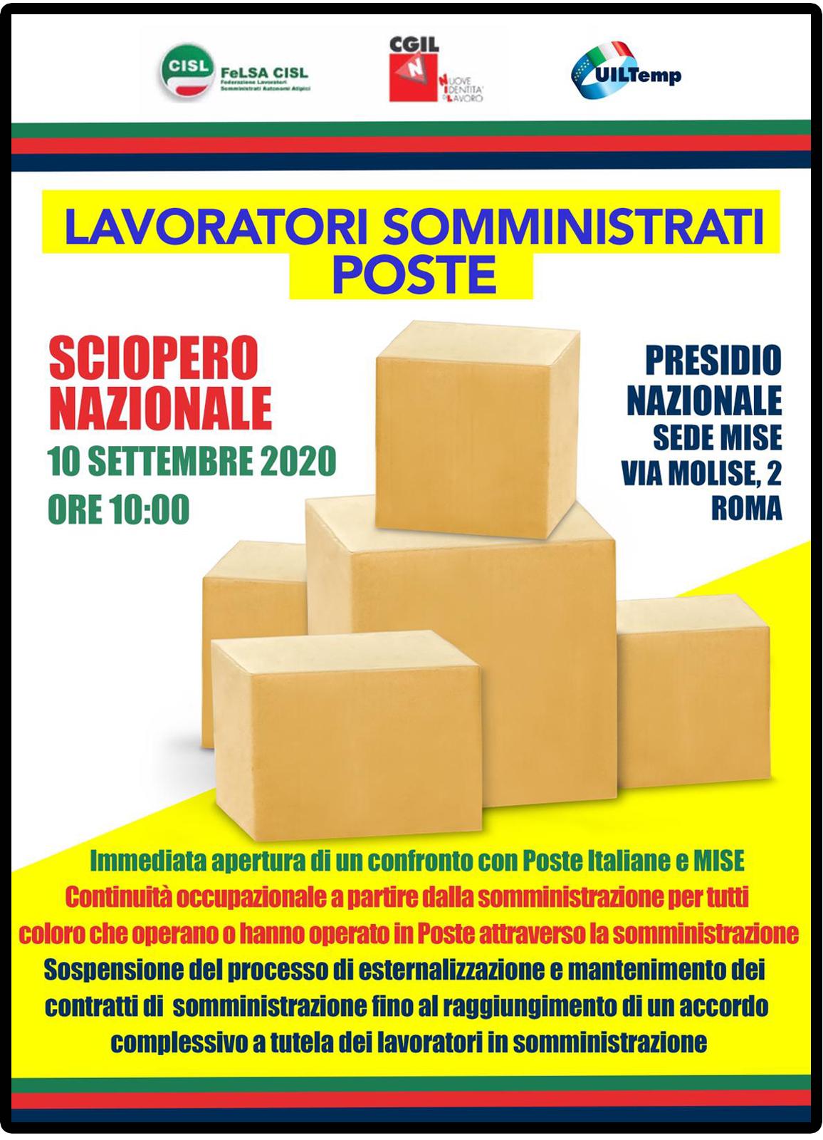Sciopero somministrati Poste Italiane 10 settembre 2020