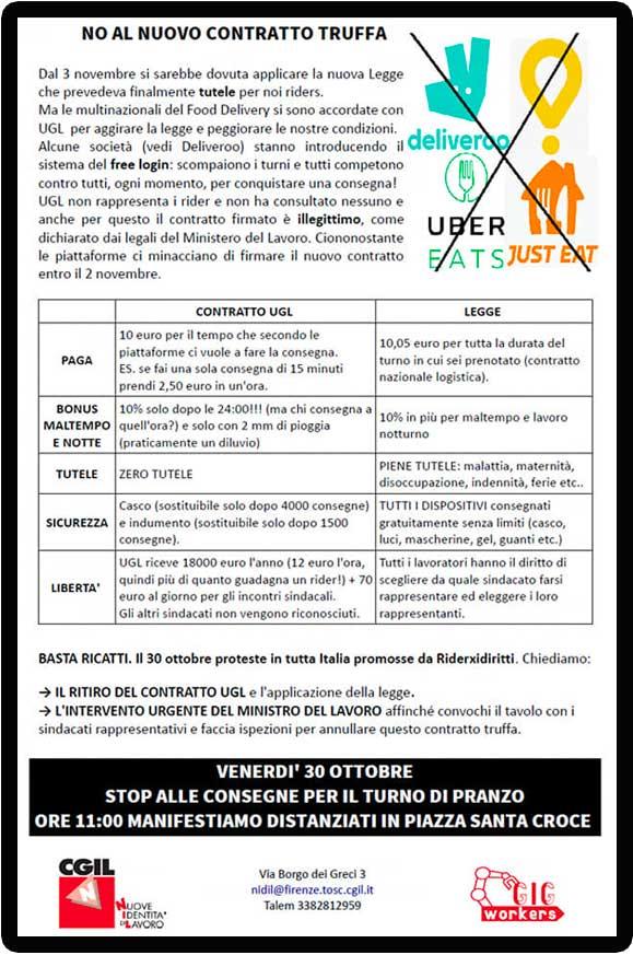 Volantino Mobilitazione Rider 30 ottobre 2020 Nidil Firenze