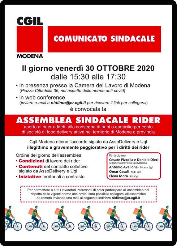Volantino Mobilitazione Rider 30 ottobre 2020 Nidil Modena
