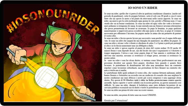 Volantino Mobilitazione Rider 30 ottobre 2020 Nidil Palermo