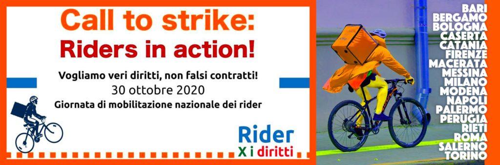 Città Mobilitazione Rider 30 ottobre 2020