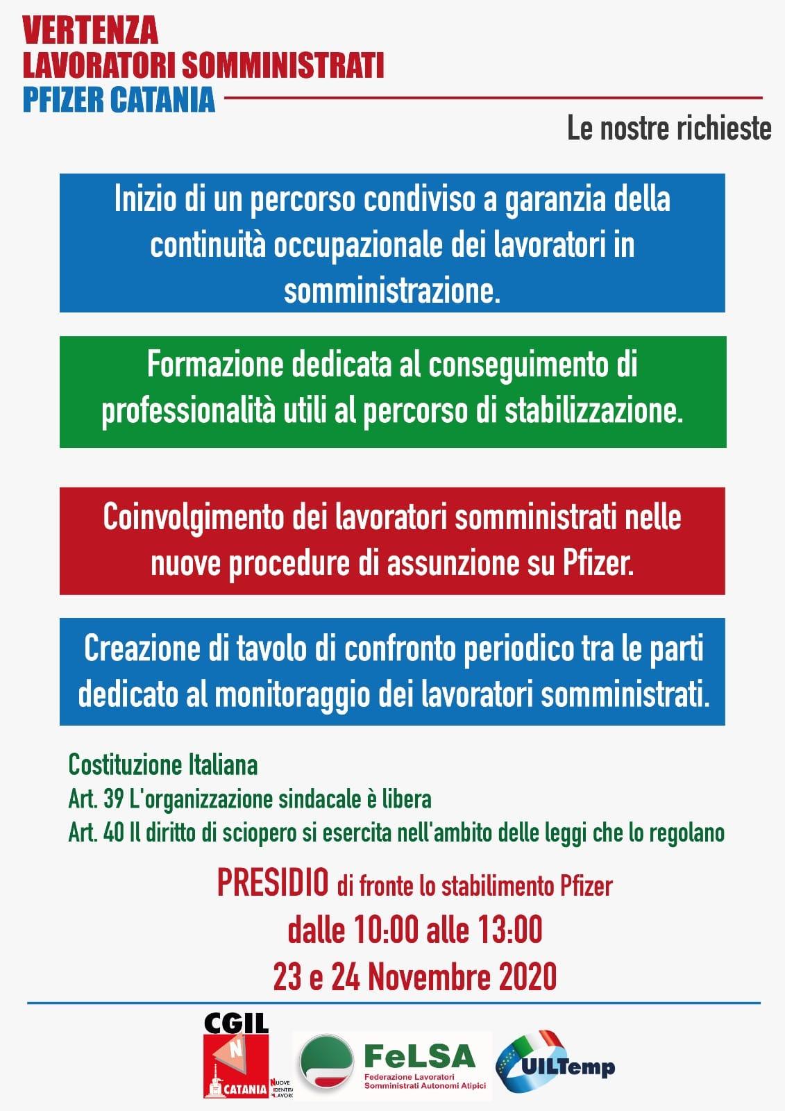 Volantino sciopero Pfizer Catania