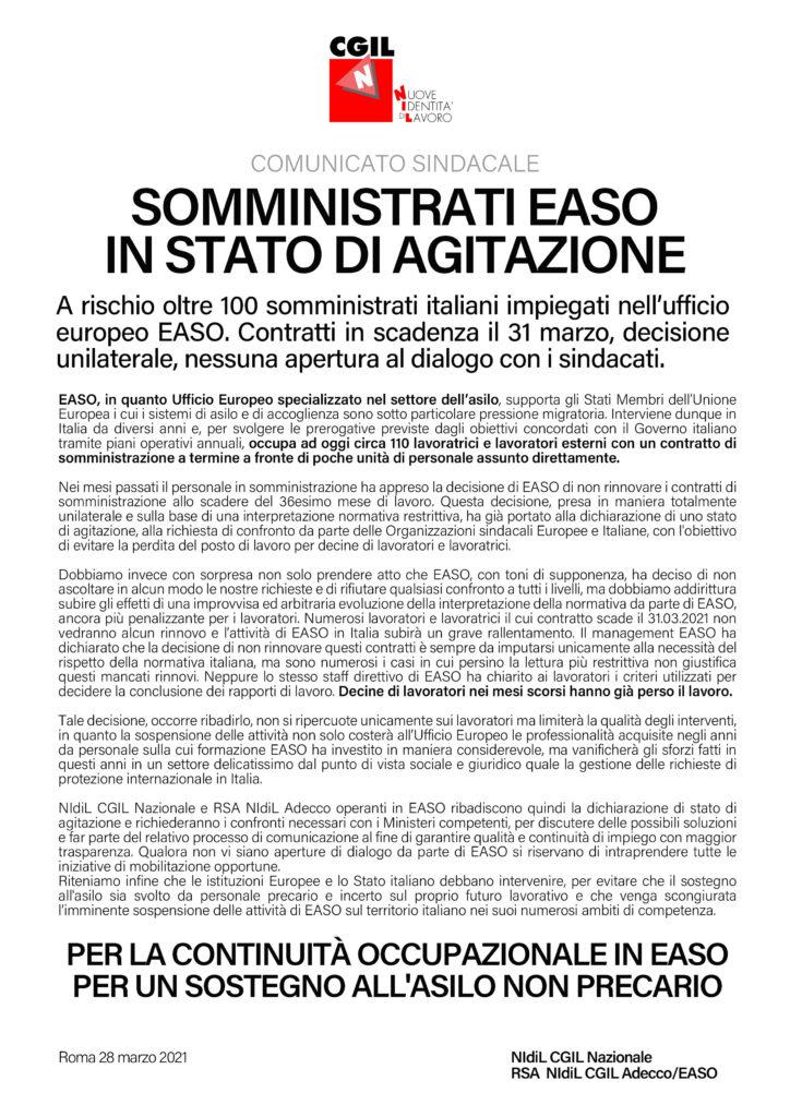 Comunicato sindacale EASO