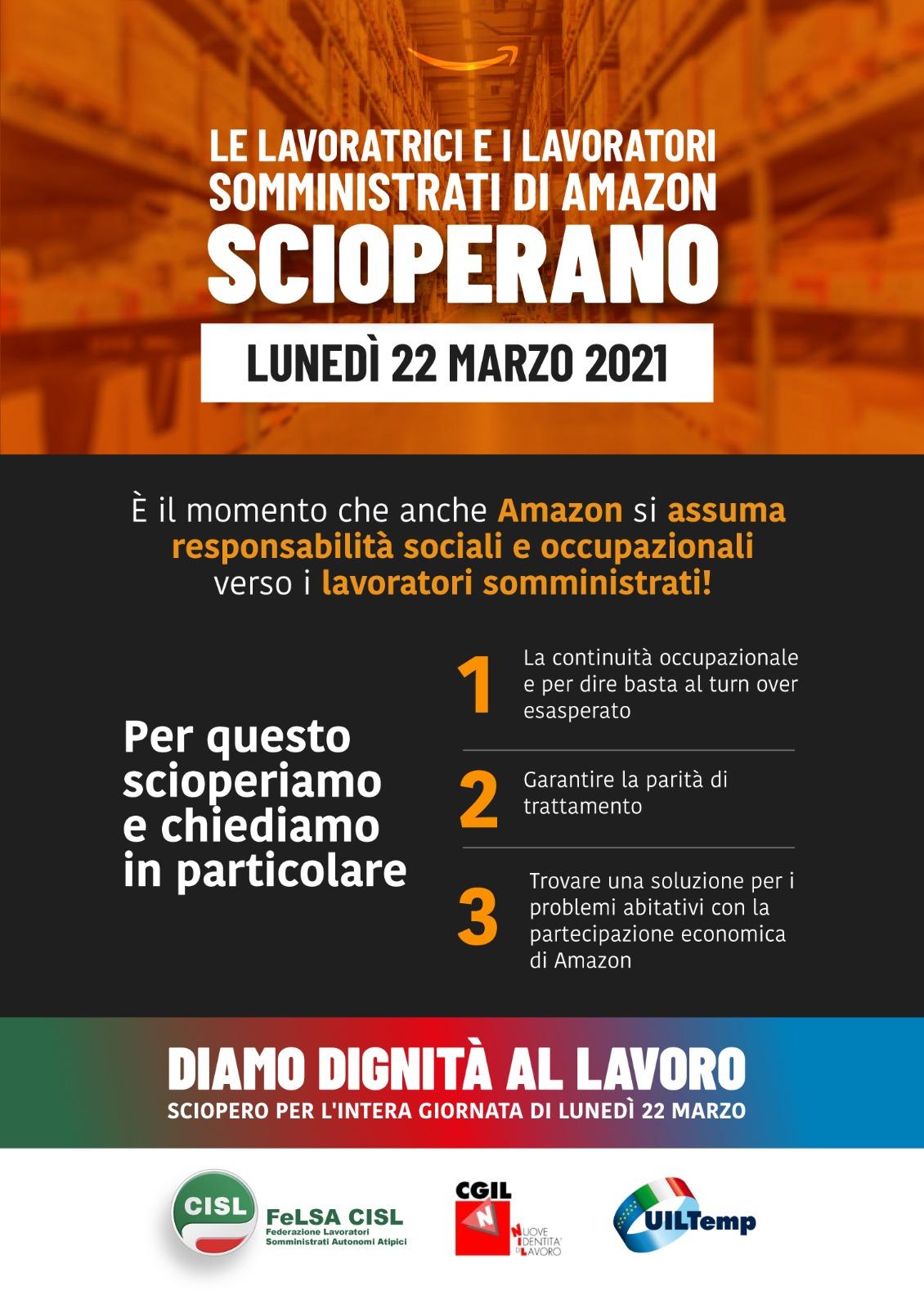 Sciopero Amazon 22 marzo 2021 Volantino