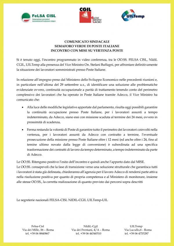 Comunicato Somministrati Poste Italiane 22.10.2020 Felsa CISL NIdiL Cgil UILTemp